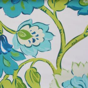 California - Petrol - Modern petrol blue floral pattern on white fabric