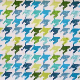 Nevada - Petrol - Colourful retro design in petrol blue on white fabric