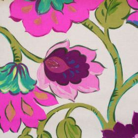 California - Mulberry - Modern mulberry pink floral pattern on white fabric