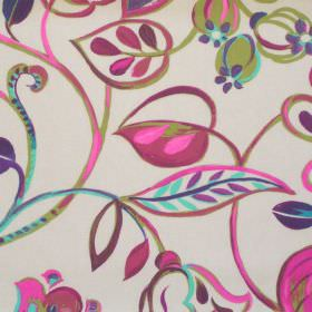 Bel Air - Mulberry - Colourful fabric with brushstroke design of flowers in mulberry pink