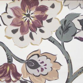 California - Dusk - Modern dusk purple floral pattern on white fabric