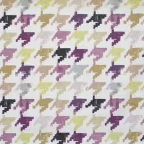 Nevada - Dusk - Colourful retro design in dusk purple on white fabric