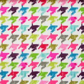 Nevada - Tropical - Colourful retro design in tropical pink on white fabric