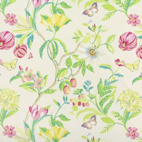 Botanica - Peony - Pink andpale yellow flowers with green leaves, light brown twigs and yellow butterflies on white fabric made from cotton