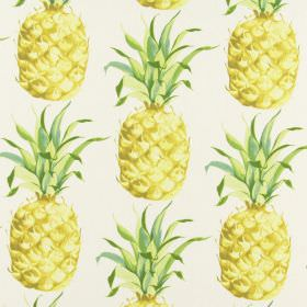 Ananas - Tropical - Pineapple print fabric made entirely from white cotton, with various shades of gold and green making up the design