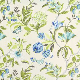 Botanica - Lagoon - Fabric made from white cotton, with a floral and butterfly design in shades of blue, with stems and leaves in green and grey