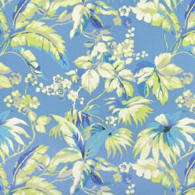 Borneo - Lagoon - Cobalt blue coloured 100% cotton fabric with a design of flowers and leaves in shades of cream, gold, beige and blue
