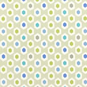 Bahia - Lagoon - A repeated hexagon pattern covering 100% cotton fabric in beige, white, green-gold and several different shades of blue