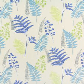 Manila - Lagoon - Fern patterned 100% cotton fabric in magnolia, grey, lime green, Royal blue and cobalt blue colours