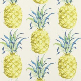 Ananas - Lagoon - Pineapples printed with some flecks of blue in the leaves on fabric made entirely from cotton in white