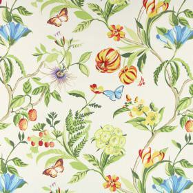 Botanica - Mango - 100% cotton fabric in off-white with yellow, blue, red and orange flowers, brown twigs, green leaves and blue butterflies