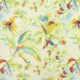Borneo - Mango - Bright floral patterned fabric made from 100% cotton, with a design in greens, blues, yellows and reds and putty colours
