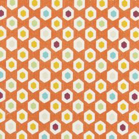 Bahia - Mango - Burnt orange coloured 100% cotton fabric covered with white, deep purple, cream, green, orange and blue hexagons