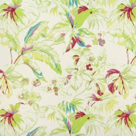 Borneo - Peony - White fabric made from 100% cotton, patterned with shaded leaves and flowers in greens, pinks and even some turquoise