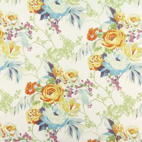 Indonesia - Mango - Off-white 100% cotton fabric featuring a floral design in shades of orange, cream, blue, green, purple and deep pink