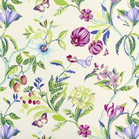 Botanica - Orchid - Flowers and butterflies in various shades of Royal purple and dark pink, with green foliage on white cotton fabric