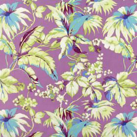 Borneo - Orchid - Bubblegum pink coloured 100% cotton fabric with a busy pattern of flowers and leaves in shades of cream, green and blue