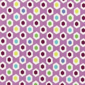 Bahia - Orchid - Yellow, burgundy, blue, turquoise, green and white hexagons printed repeatedly on bubblegum pink coloured cotton fabric