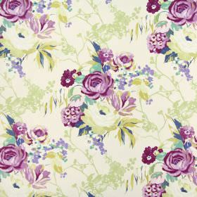 Indonesia - Orchid - Floral patterned fabric made from 100% cotton in shades of cream, beige, purple, pink and even a little light aqua