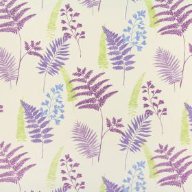 Manila - Orchid - Cobalt blue, lime green and purple coloured fern leaves scattered over a white 100% cotton fabric background