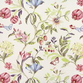 Botanica - Pomegranate - Aubergine, red, pink, blue, green, beige and grey making up a floral and butterfly pattern on white 100% cotton fab