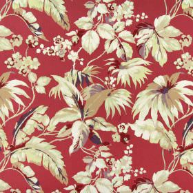 Borneo - Pomegranate - Green-gold leaves with cream coloured flowers and some hints of burgundy on scarlet fabric made from 100% cotton