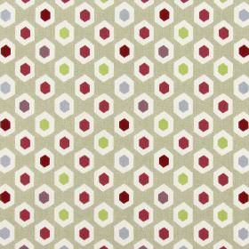 Bahia - Pomegranate - 100% cotton fabric in a beige colour, with a pattern of small hexagons in white, green, grey and dark shades of pink