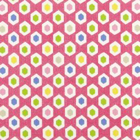 Bahia - Peony - White, green, yellow, pink, blue and beige hexagons printed repeatedly on a light pink 100% cotton fabric background
