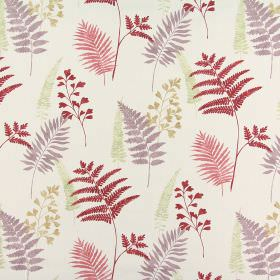 Manila - Pomegranate - Fabric made from 100% cotton in an off-white colour with a fern pattern in shades of red, orange, green and dusky pur