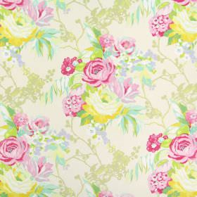 Indonesia - Peony - A shaded floral design in pink, purple, gold, green, yellow and beige tones on fabric made from 100% cotton in white