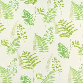 Manila - Evergreen - Fern leaves printed in several similar shades of green on a 100% cotton fabric background in white