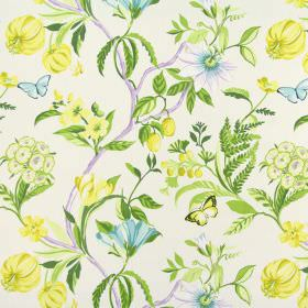 Botanica - Tropical - 100% cotton fabric in white, patterned with flowers in shades of yellow and aqua blue, with stems in greens and lilac