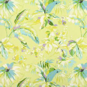 Borneo - Tropical - Feather-like leaves patterning 100% cotton fabric in shades of light yellow, baby blue, lilac, forest green and white