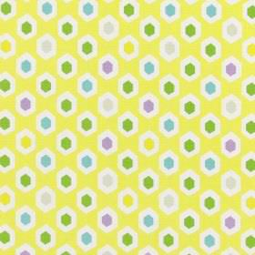 Bahia - Tropical - Mustard yellow coloured 100% cotton fabric with a repeated hexagon pattern in white, green, blue, purple, grey & yellow