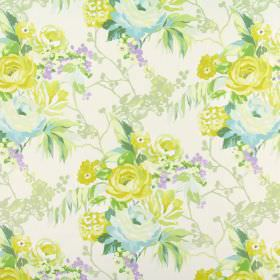 Indonesia - Tropical - Floral patterned 100% cotton fabric in white, with a design in shades of yellow, green, beige, blue and lilac
