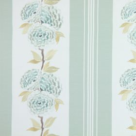 Darcy - Duck Egg - Embroidered duck egg blue and white flowers on a striped cotton fabric background in matching colours, with green leaves