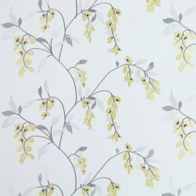 Montague - Dandelion - A subtle floral pattern in light shades of yellow and grey on a white fabric background