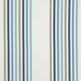 Halsway - Cornflower Blue - A repeated design of narrow stripes in different shades of grey and blue on cotton fabric in white