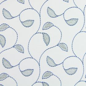 Burghley - Cornflower Blue - Very pale grey coloured fabric embroidered with curving vines and simple leaves in two shades of blue