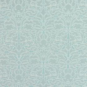 Claydon - Cornflower Blue - Light grey cotton fabric with an intricate pattern in an even paler shade of grey, which has been edged with whi