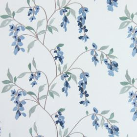 Montague - Cornflower Blue - Small flowers in two shades of blue hanging off brown-grey branches with green leaves on white fabric