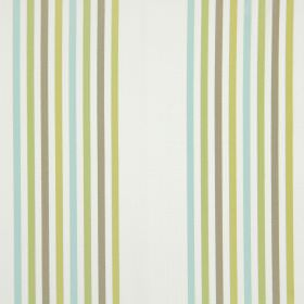 Halsway - Duck Egg - Stripes of green, light brown and ice blue printed on fabric made from white cotton