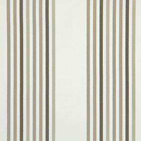 Halsway - Stone - A striped design in shades of grey, silver and light brown on white cotton fabric
