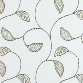 Burghley - Stone - Grey vines and simple light brown coloured leaves embroidered in a simple design on white fabric