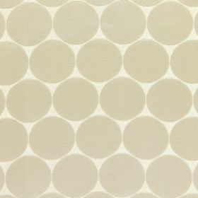 Eaton - Stone - Subtle, large, very pale grey circles on a background of white fabric made from cotton