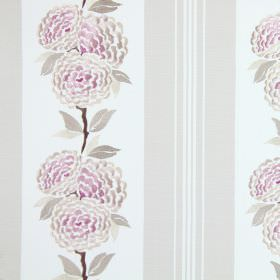 Darcy - Blush - A row of cream and pink flowers embroidered with light brown leaves on white cotton, beside some beige vertical stripes