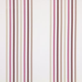 Halsway - Blush - White cotton fabric striped with light brown, dark brown, pink and cream