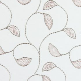 Burghley - Blush - Simple beige leaves with curving grey vines embroidered on off-white coloured fabric