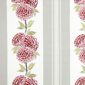 Darcy - Cherry - White cotton fabric printed with vertical light grey stripes with a row of embroidered pink-red flowers and green leaves