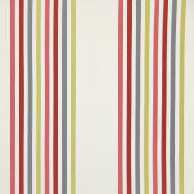 Halsway - Cherry - Narrow lime green, grey, red and pink stripes printed on white cotton fabric